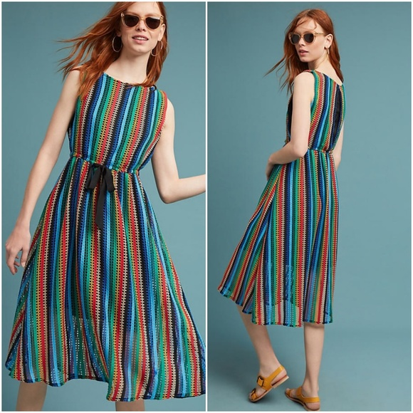 7144d3f026f Anthropologie Dresses | New Eva Franco Rainbow Crochet Dress | Poshmark